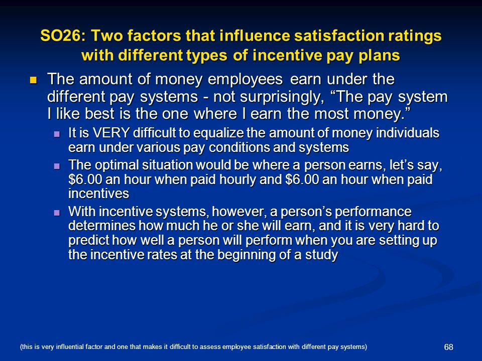 SO26: Two factors that influence satisfaction ratings with different types of incentive pay plans