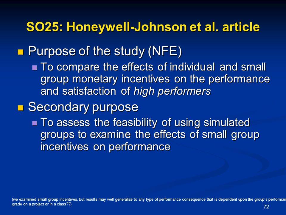 SO25: Honeywell-Johnson et al. article