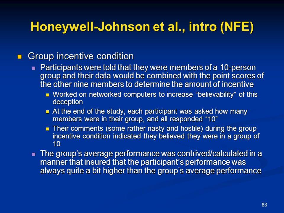 Honeywell-Johnson et al., intro (NFE)