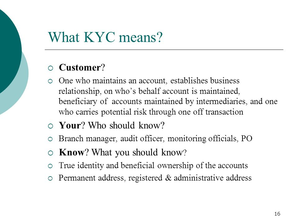What KYC means Customer Your Who should know