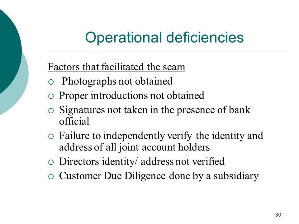 Operational deficiencies