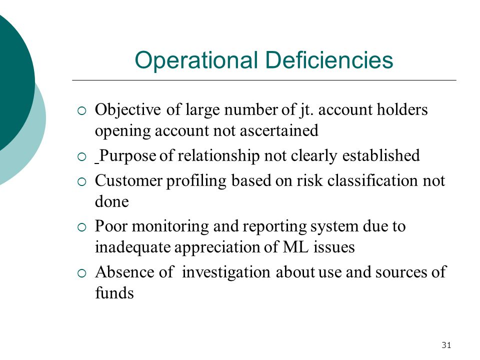Operational Deficiencies