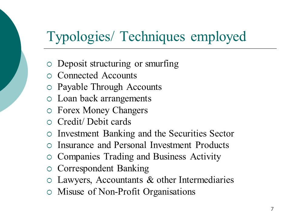 Typologies/ Techniques employed