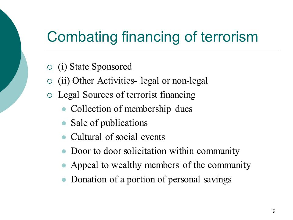 Combating financing of terrorism