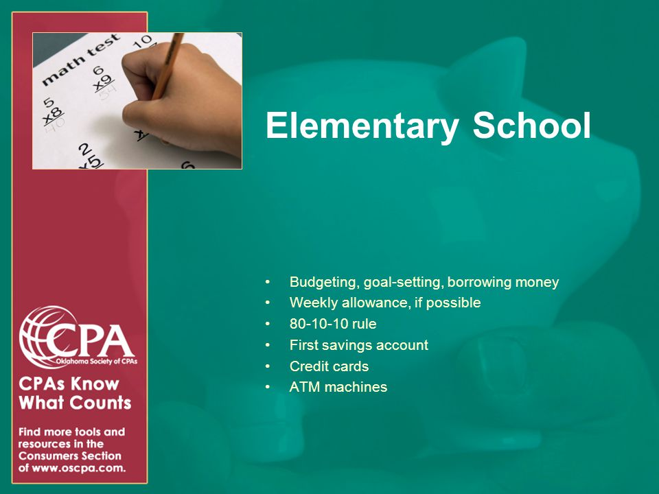 Elementary School Budgeting, goal-setting, borrowing money