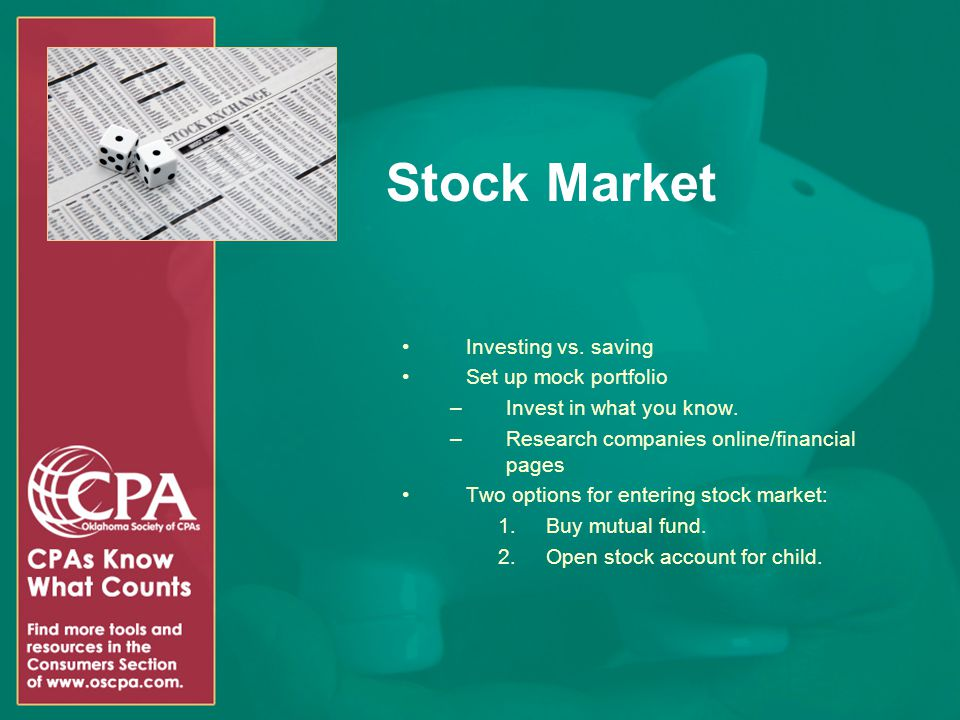 Stock Market Investing vs. saving Set up mock portfolio