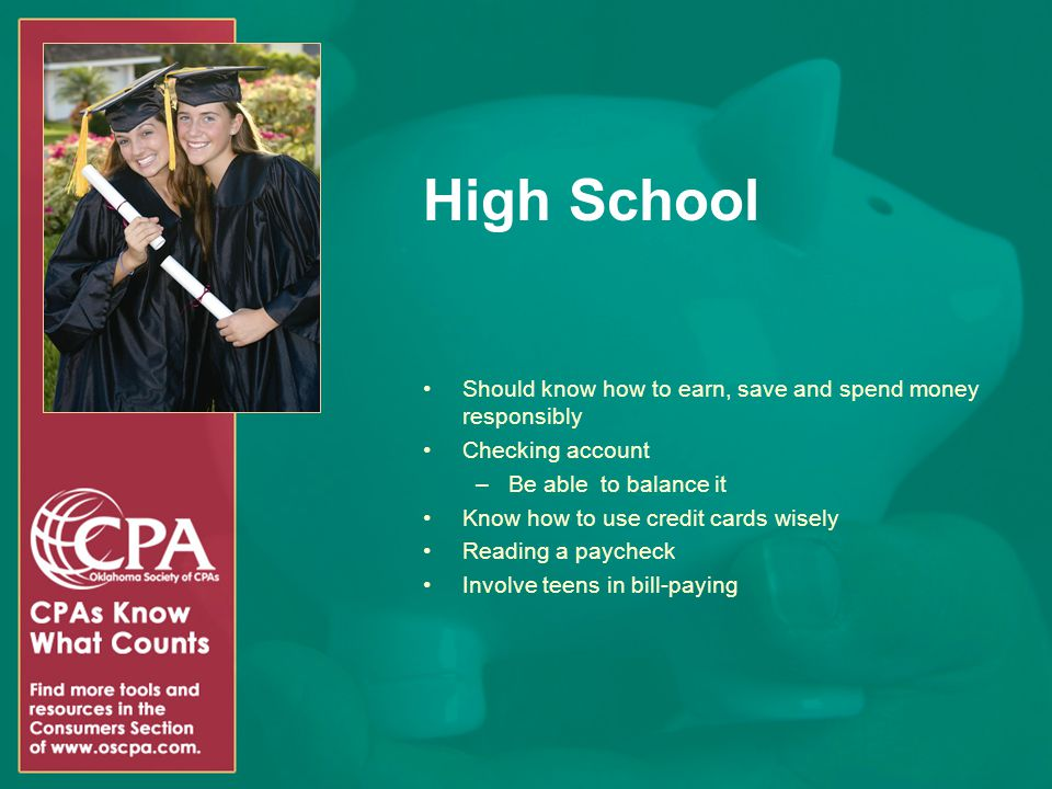 High School Should know how to earn, save and spend money responsibly