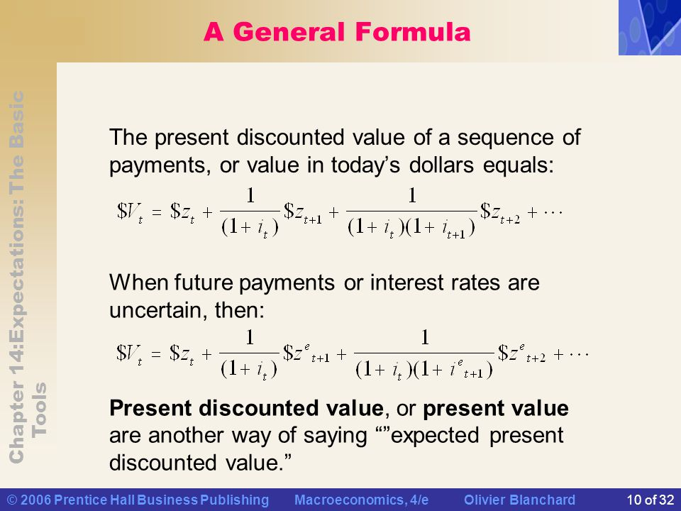 A General Formula The present discounted value of a sequence of payments, or value in today's dollars equals: