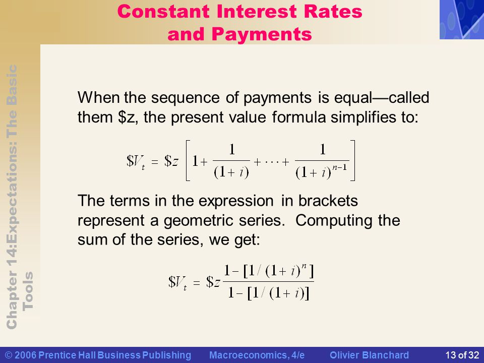 Constant Interest Rates and Payments