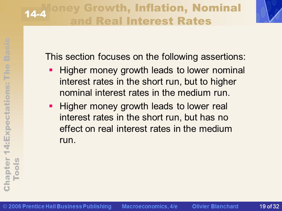 Money Growth, Inflation, Nominal and Real Interest Rates