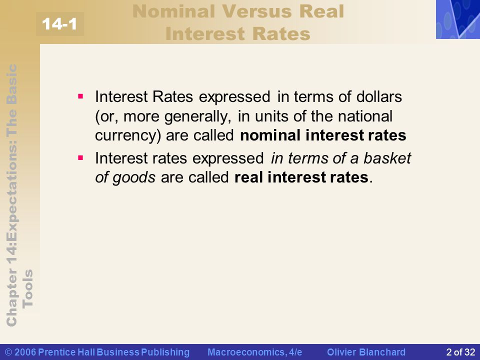 Nominal Versus Real Interest Rates