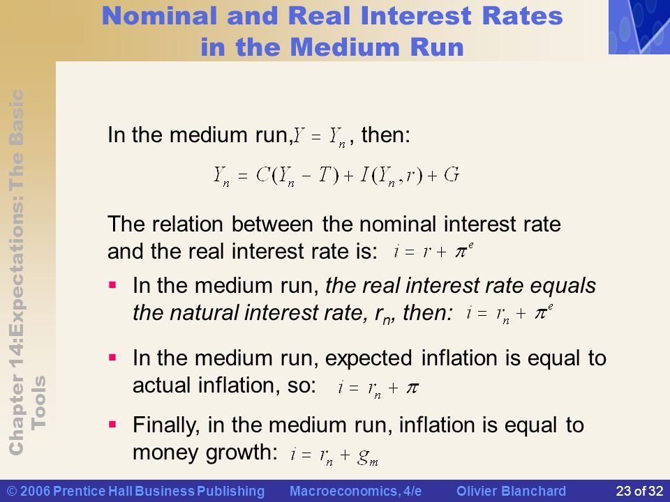 Nominal and Real Interest Rates in the Medium Run