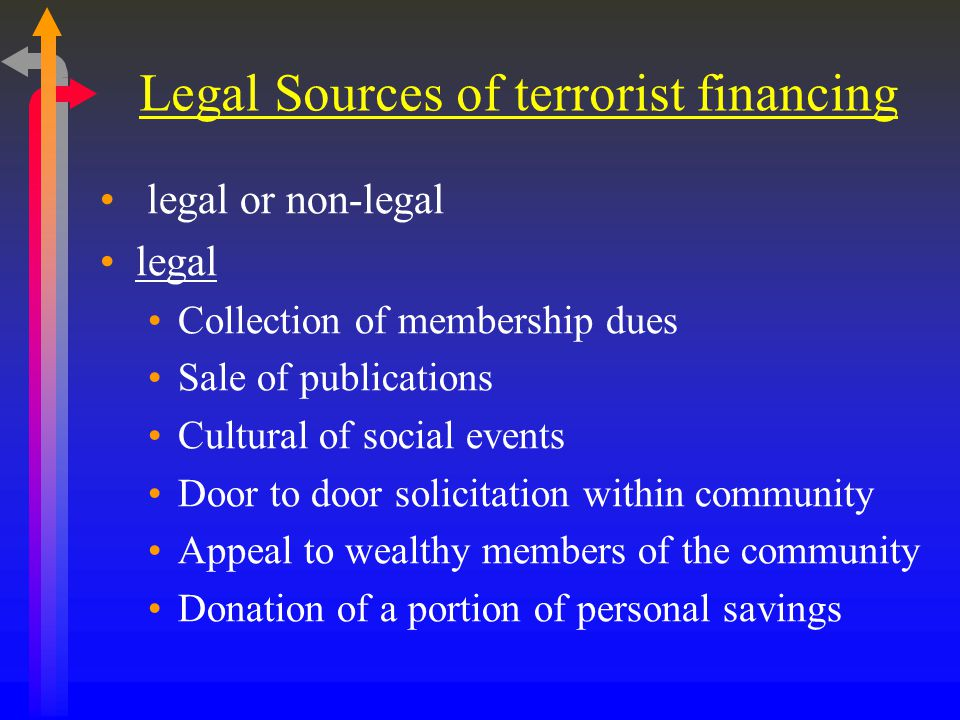 Legal Sources of terrorist financing