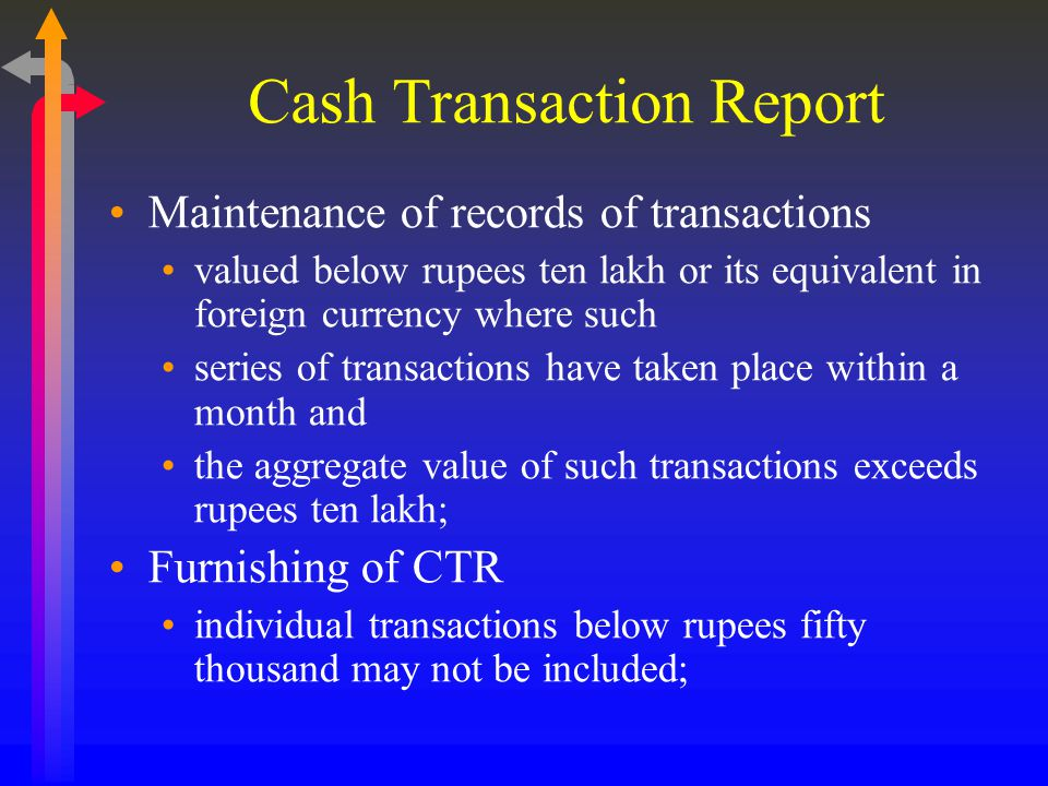 Cash Transaction Report