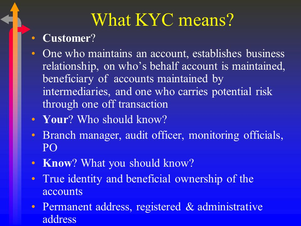 What KYC means Customer