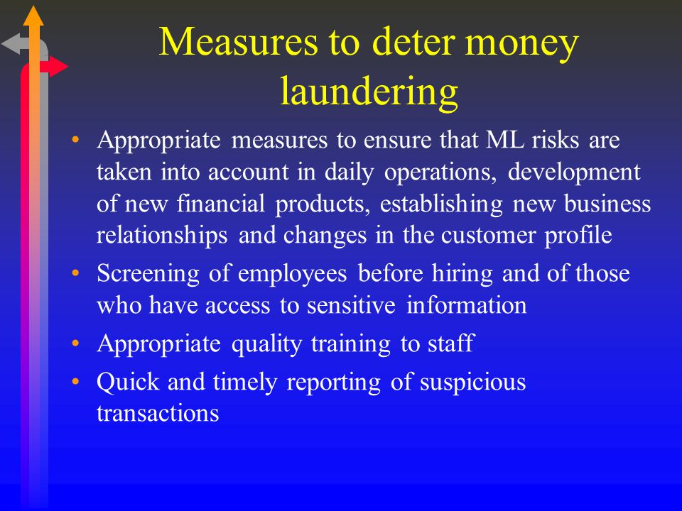 Measures to deter money laundering