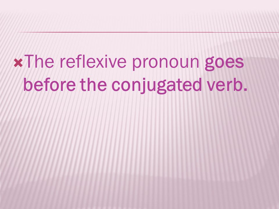 The reflexive pronoun goes before the conjugated verb.