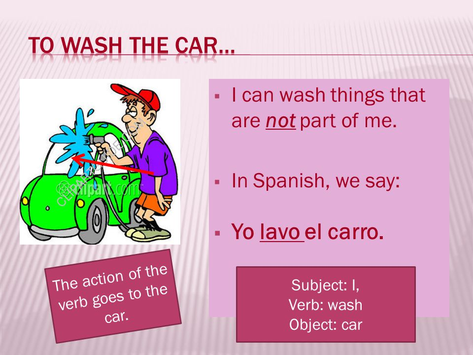 The action of the verb goes to the car.