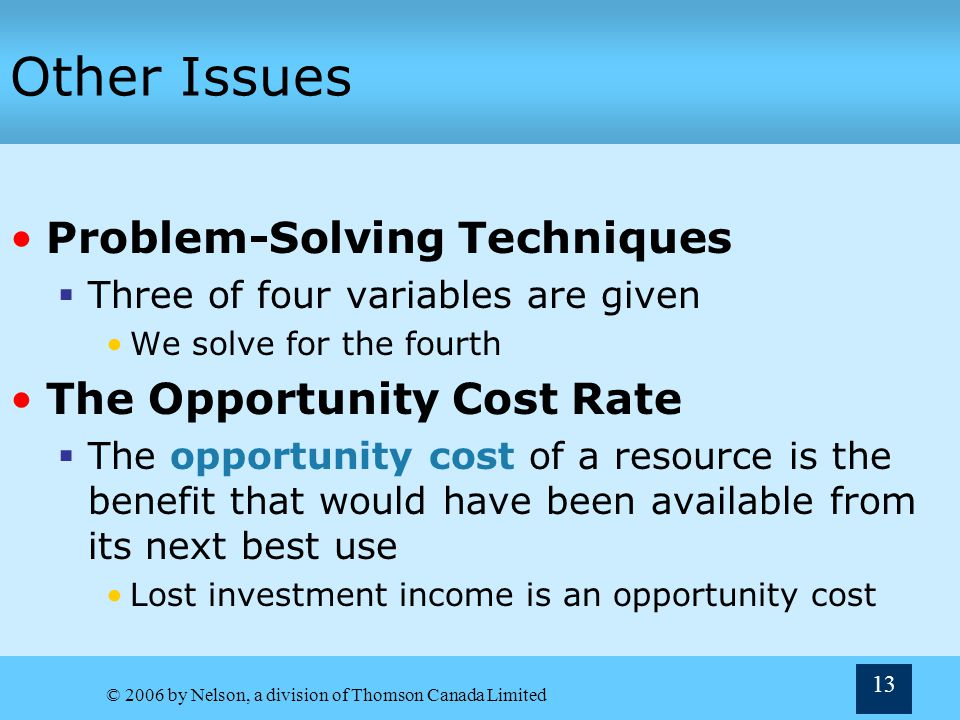 Other Issues Problem-Solving Techniques The Opportunity Cost Rate