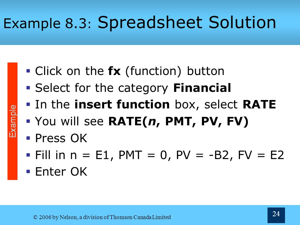 Example 8.3: Spreadsheet Solution