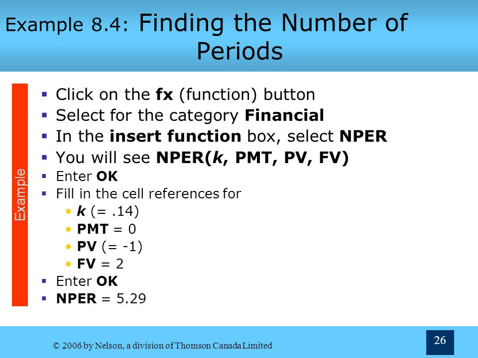 Example 8.4: Finding the Number of Periods