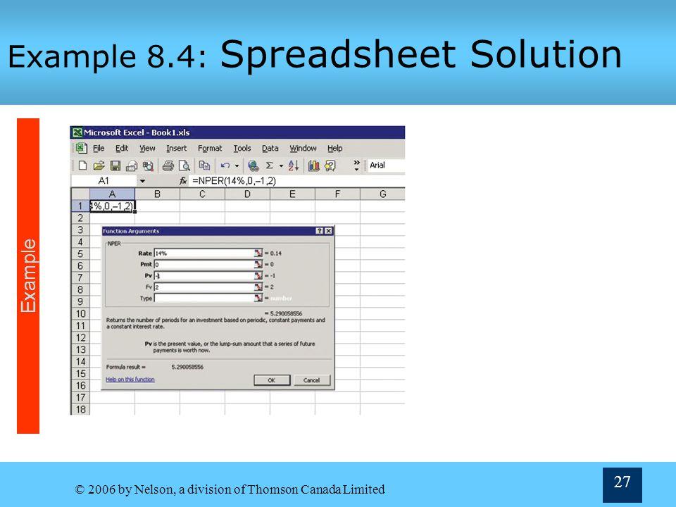 Example 8.4: Spreadsheet Solution