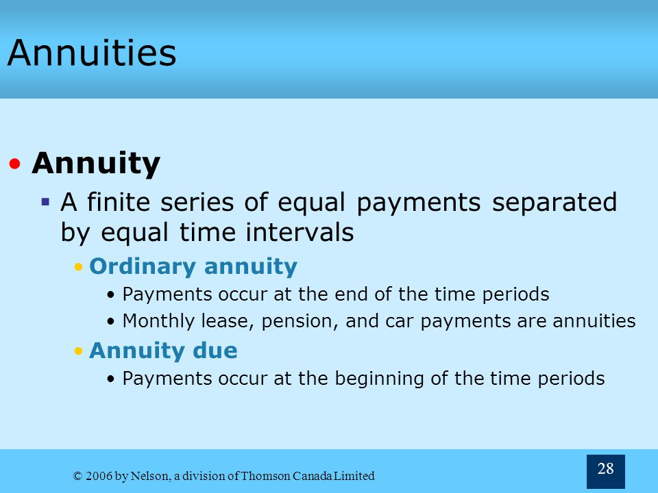 Annuities Annuity. A finite series of equal payments separated by equal time intervals. Ordinary annuity.