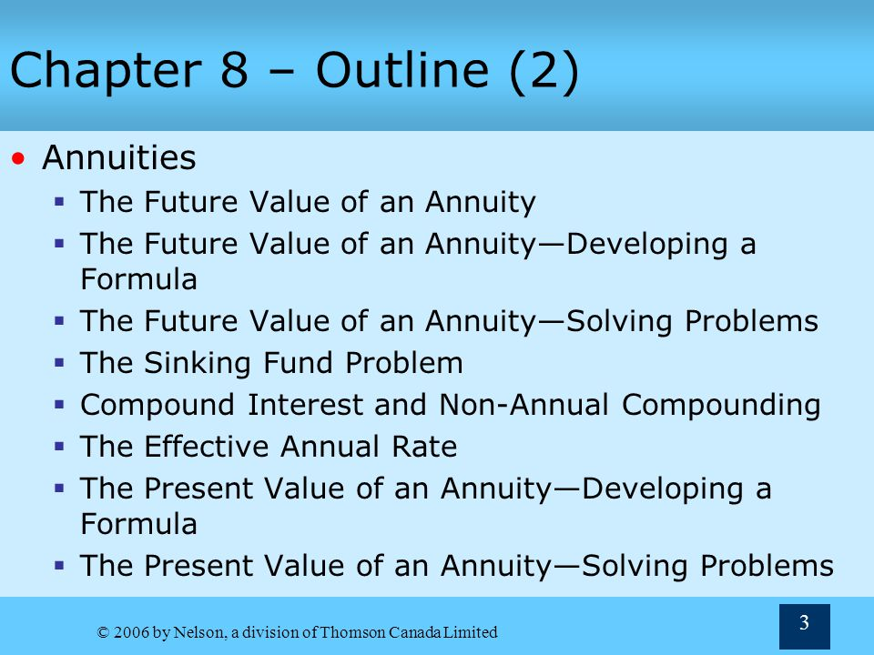 Chapter 8 – Outline (2) Annuities The Future Value of an Annuity