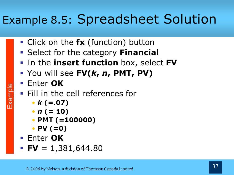 Example 8.5: Spreadsheet Solution