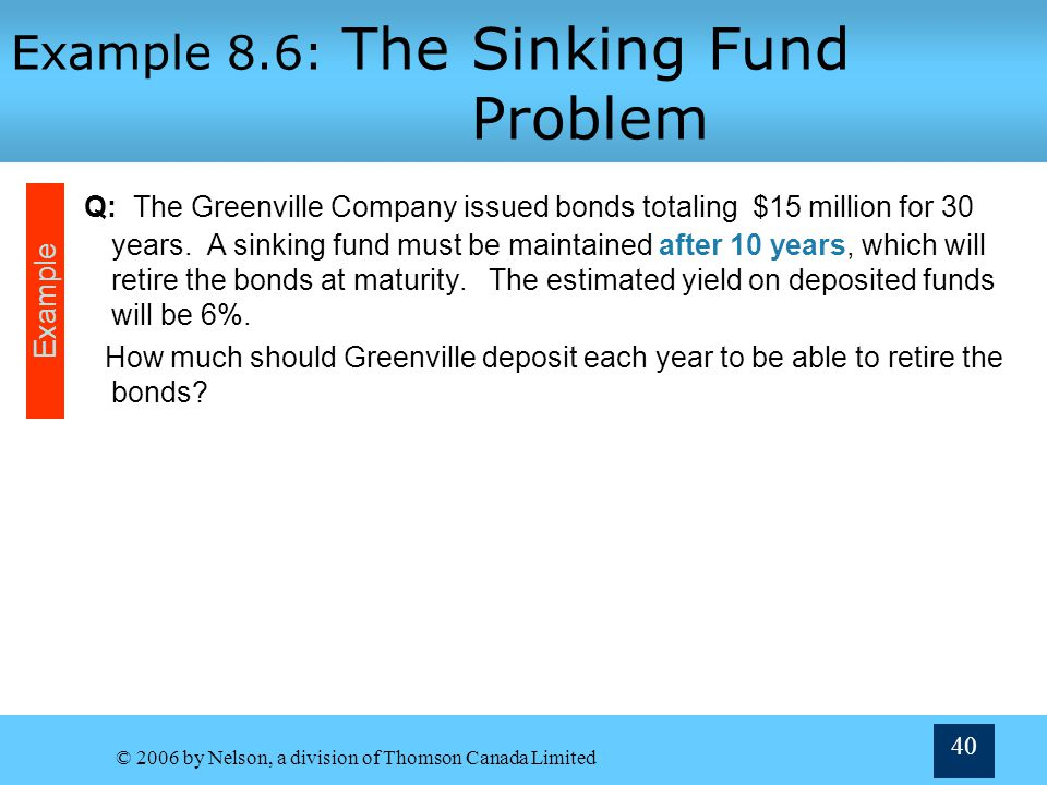 Example 8.6: The Sinking Fund Problem