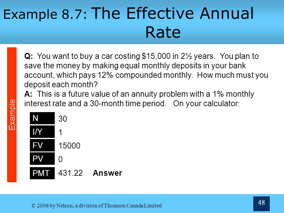 Example 8.7: The Effective Annual Rate