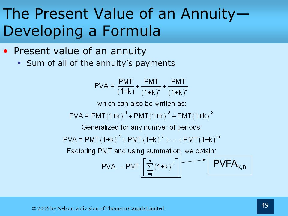 The Present Value of an Annuity—Developing a Formula