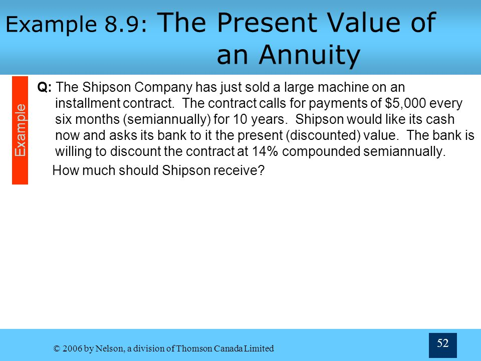 Example 8.9: The Present Value of an Annuity