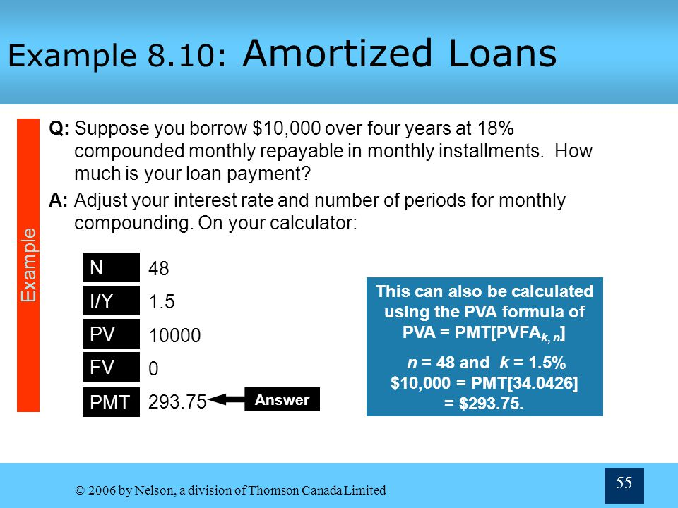 Example 8.10: Amortized Loans
