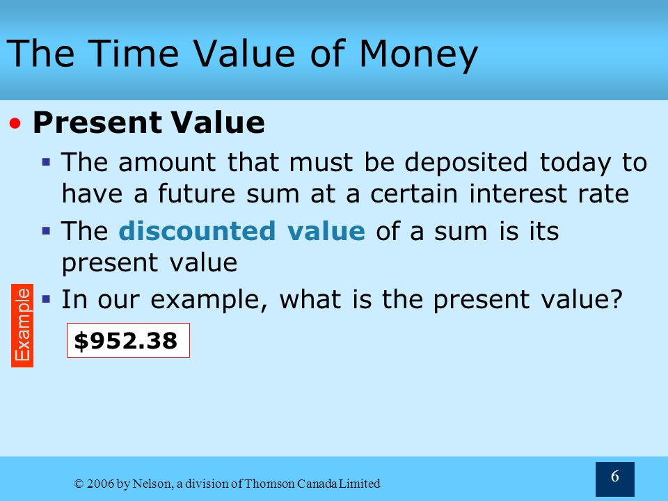 The Time Value of Money Present Value