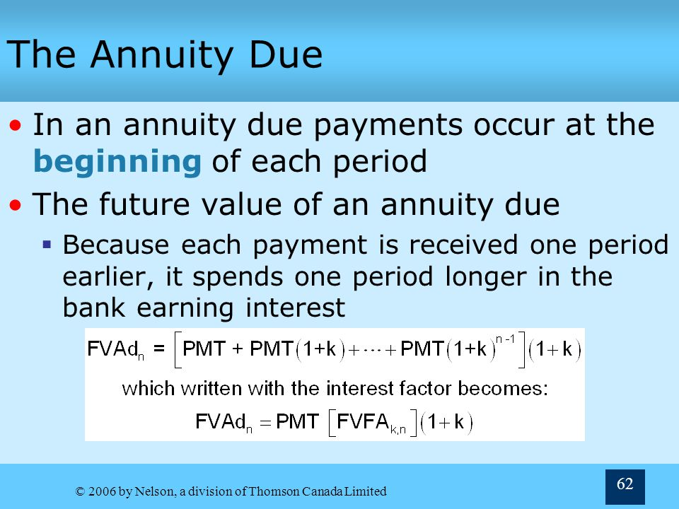 The Annuity Due In an annuity due payments occur at the beginning of each period. The future value of an annuity due.