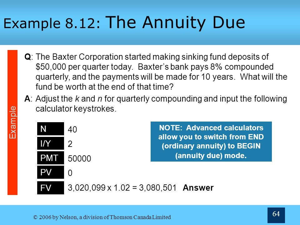 Example 8.12: The Annuity Due