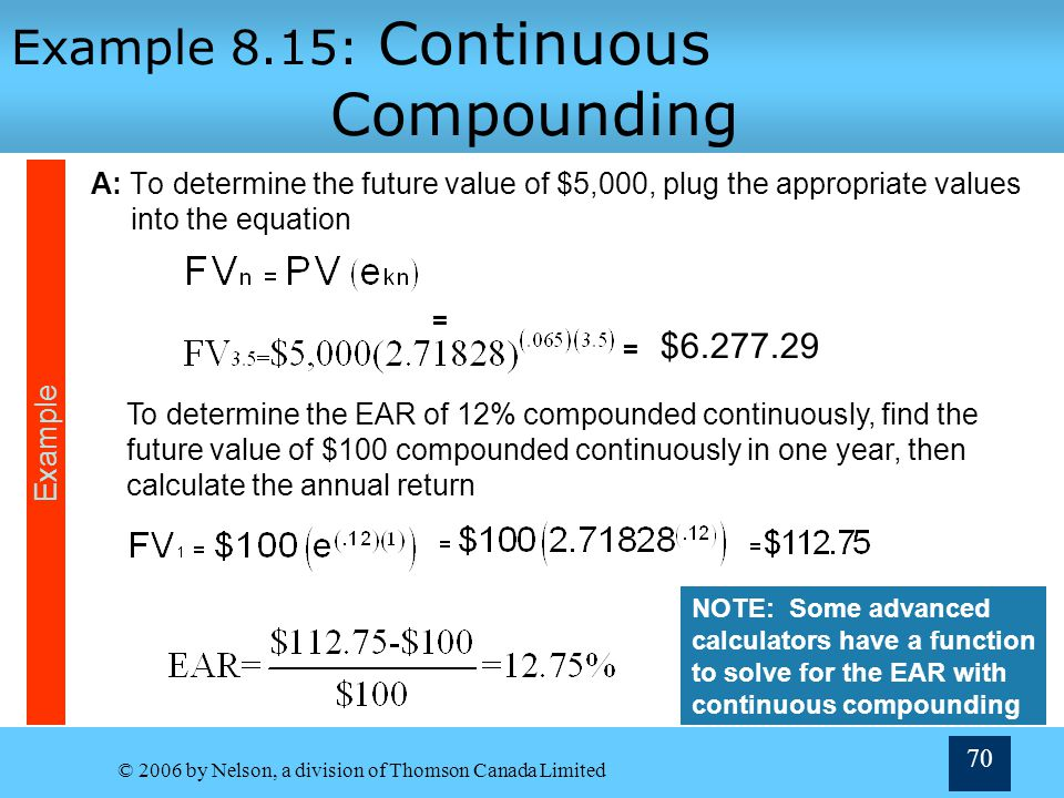 Example 8.15: Continuous Compounding