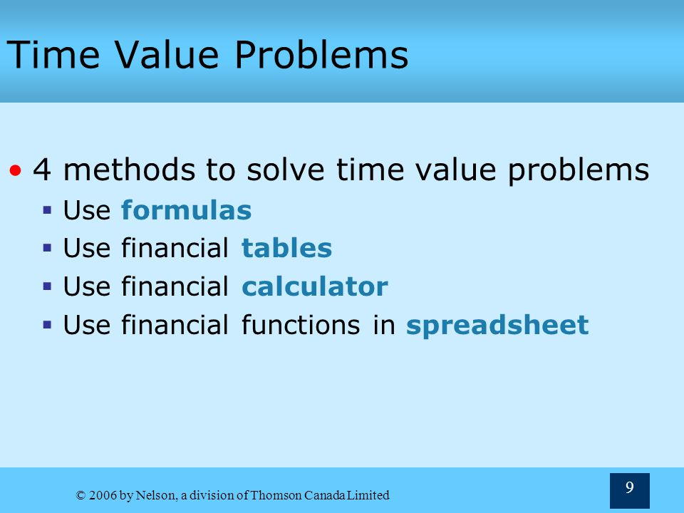 Time Value Problems 4 methods to solve time value problems