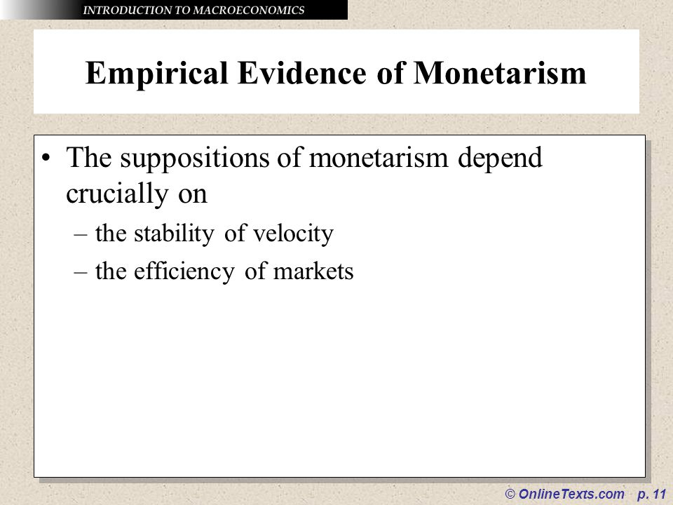 Empirical Evidence of Monetarism