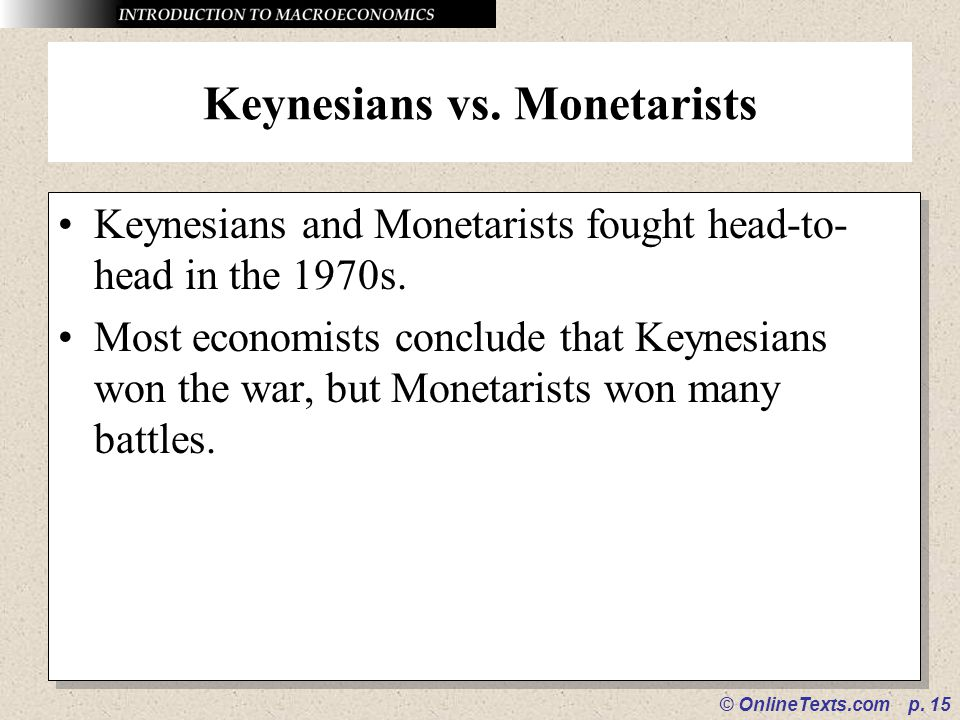 Keynesians vs. Monetarists
