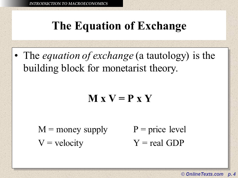 The Equation of Exchange