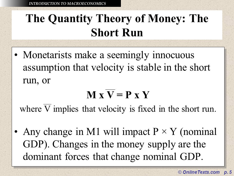 The Quantity Theory of Money: The Short Run