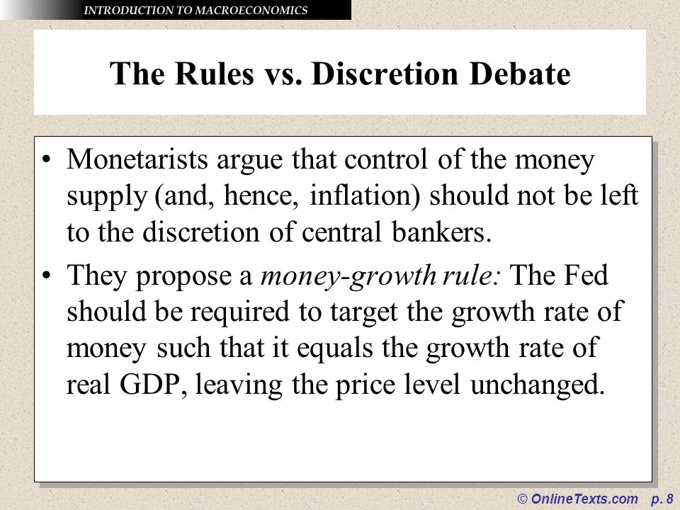 The Rules vs. Discretion Debate