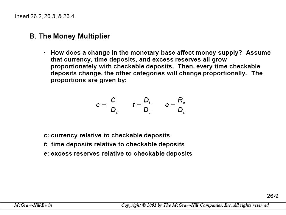 Insert 26.2, 26.3, & 26.4 B. The Money Multiplier.