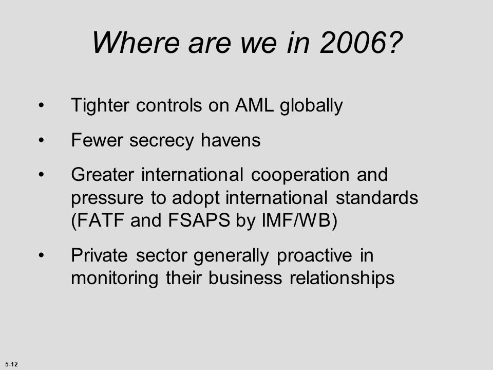 Where are we in 2006 Tighter controls on AML globally