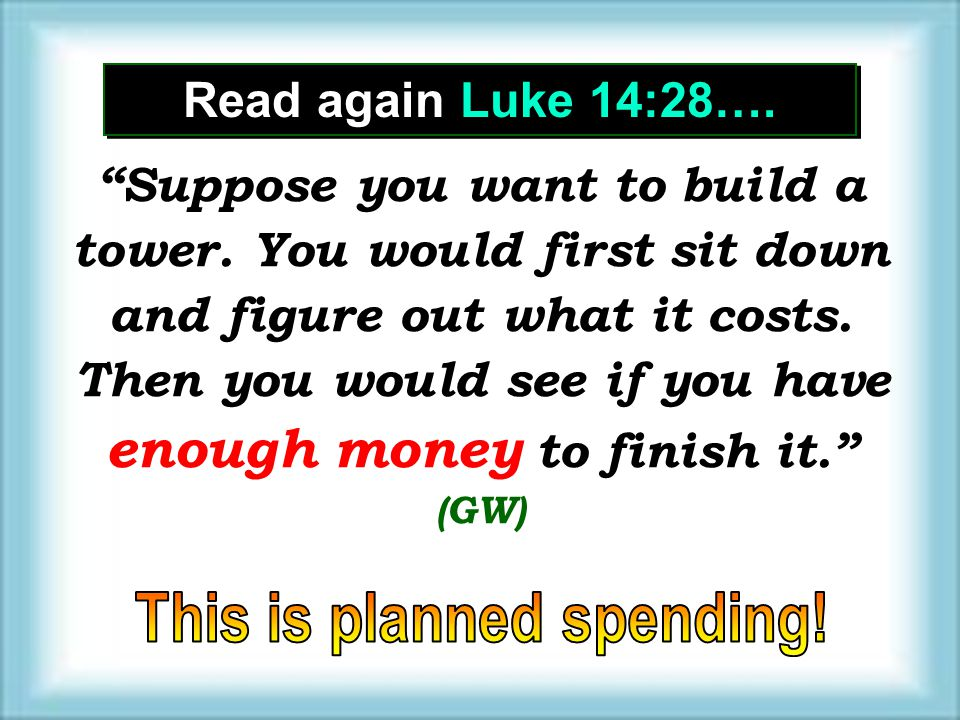 This is planned spending!