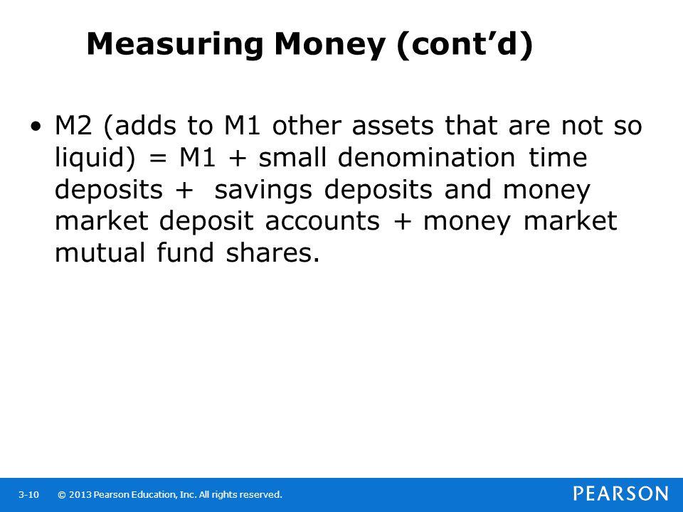Measuring Money (cont'd)