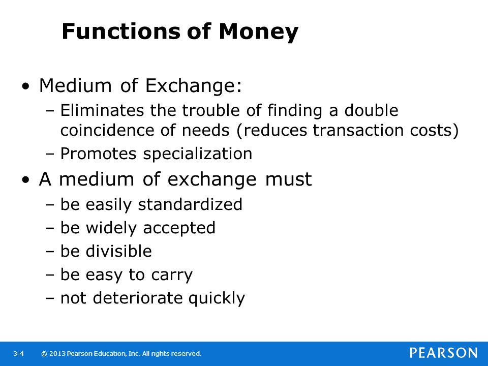 Functions of Money Medium of Exchange: A medium of exchange must