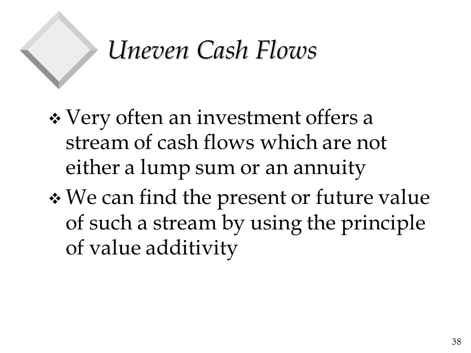 Uneven Cash Flows Very often an investment offers a stream of cash flows which are not either a lump sum or an annuity.